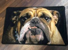 NEW BULLDOG DOG DESIGN NON SLIP DOORMAT 50X80CM BLACK BEIGE EXCELLENT QUALITY